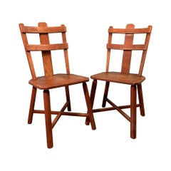 Primitive Pair of Cherrywood Side Chairs in the Manner of Jean Touret