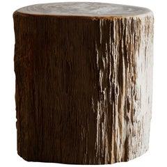 Primitive Petrified Wood Stump Form Side Table