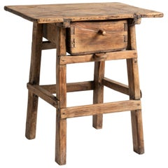 Primitive Pine Shepherds Table, France, Early 19th Century