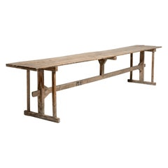 Primitive Pine Trestle Table, Italy, circa 1890
