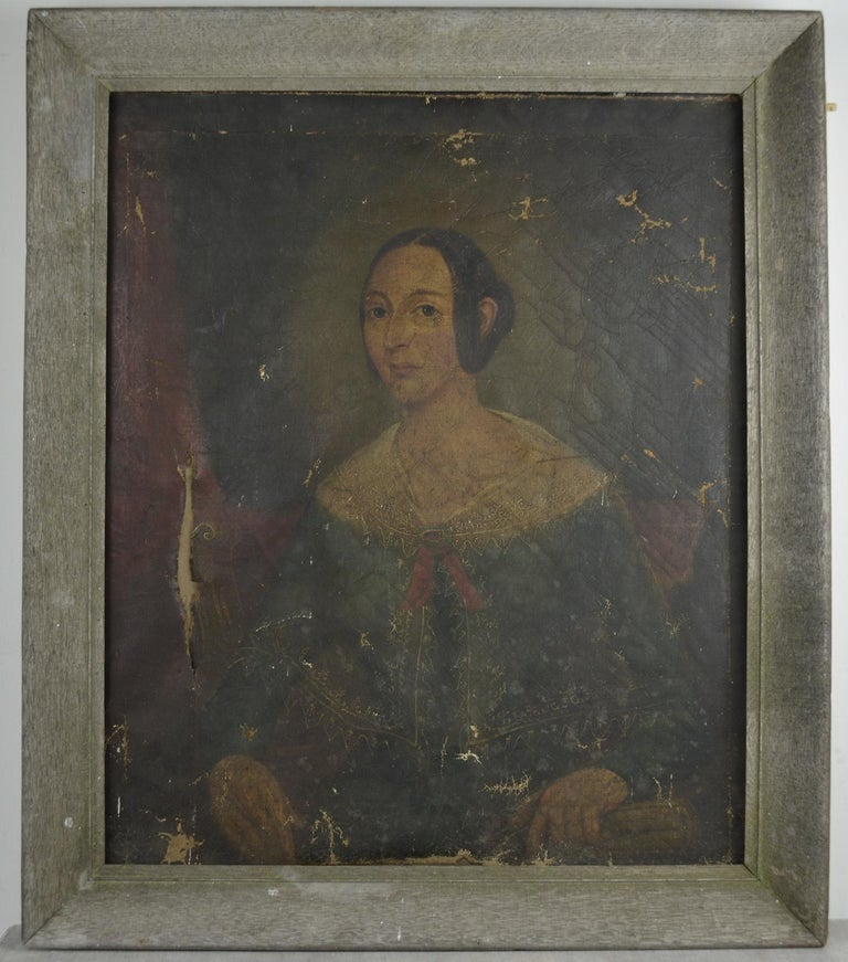 Wonderful naive oil painting of a girl.  Fabulous muted colours. The austerity of the image is matched by the simplicity of the antique bleached oak frame.  I have chosen not to restore.  The piece is distressed. Two major tears to the