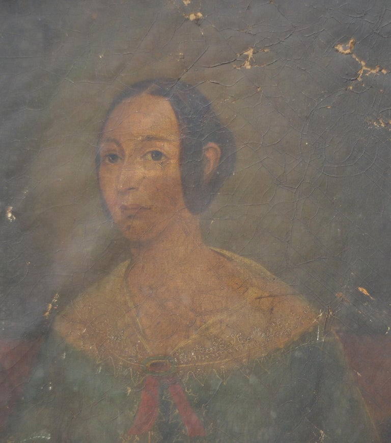 Bleached Primitive Portrait of a Girl. English, Early 19th Century