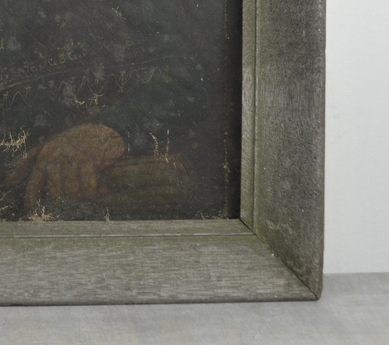 Primitive Portrait of a Girl. English, Early 19th Century  In Distressed Condition In St Annes, Lancashire