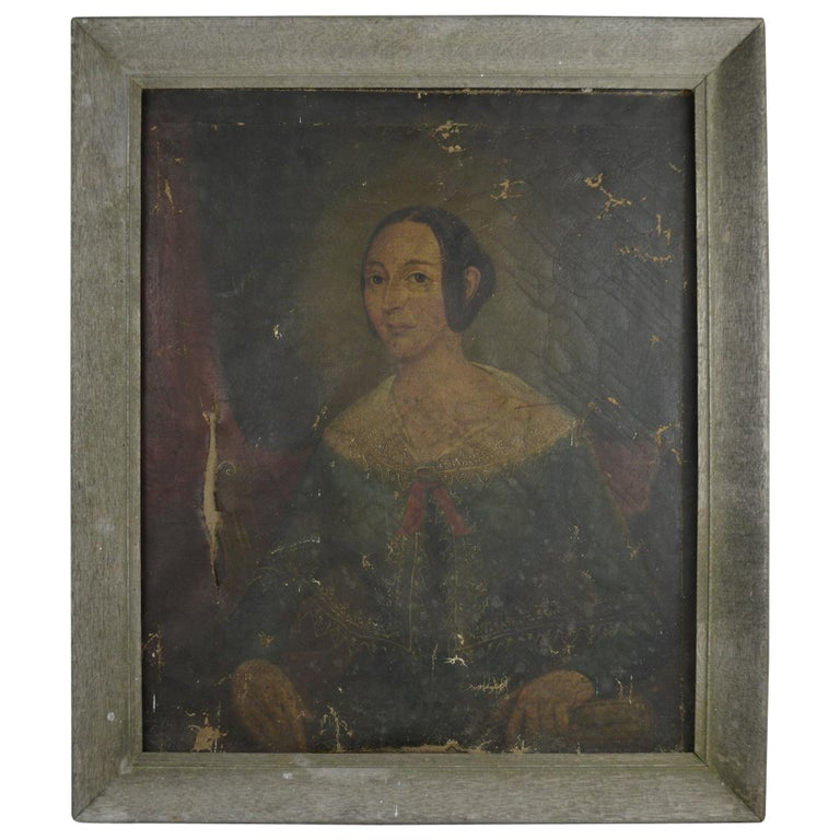 Primitive Portrait of a Girl. English, Early 19th Century