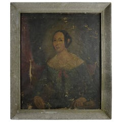 Primitive Portrait of a Girl, English, Early 19th Century
