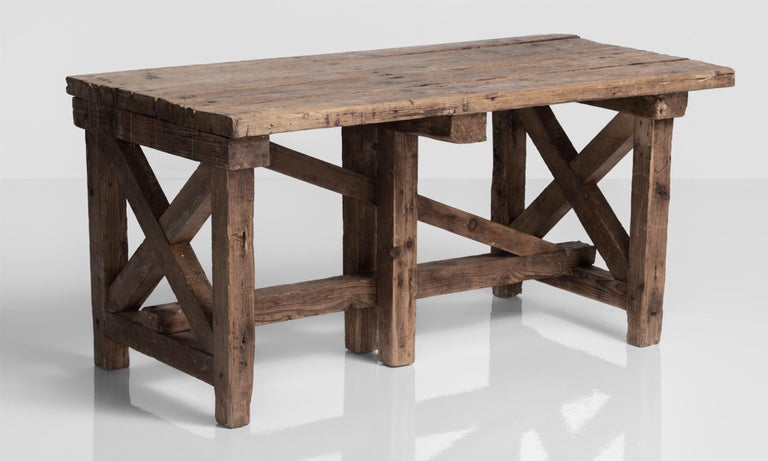 Wood Primitive Pottery Table, France, circa 1880 For Sale