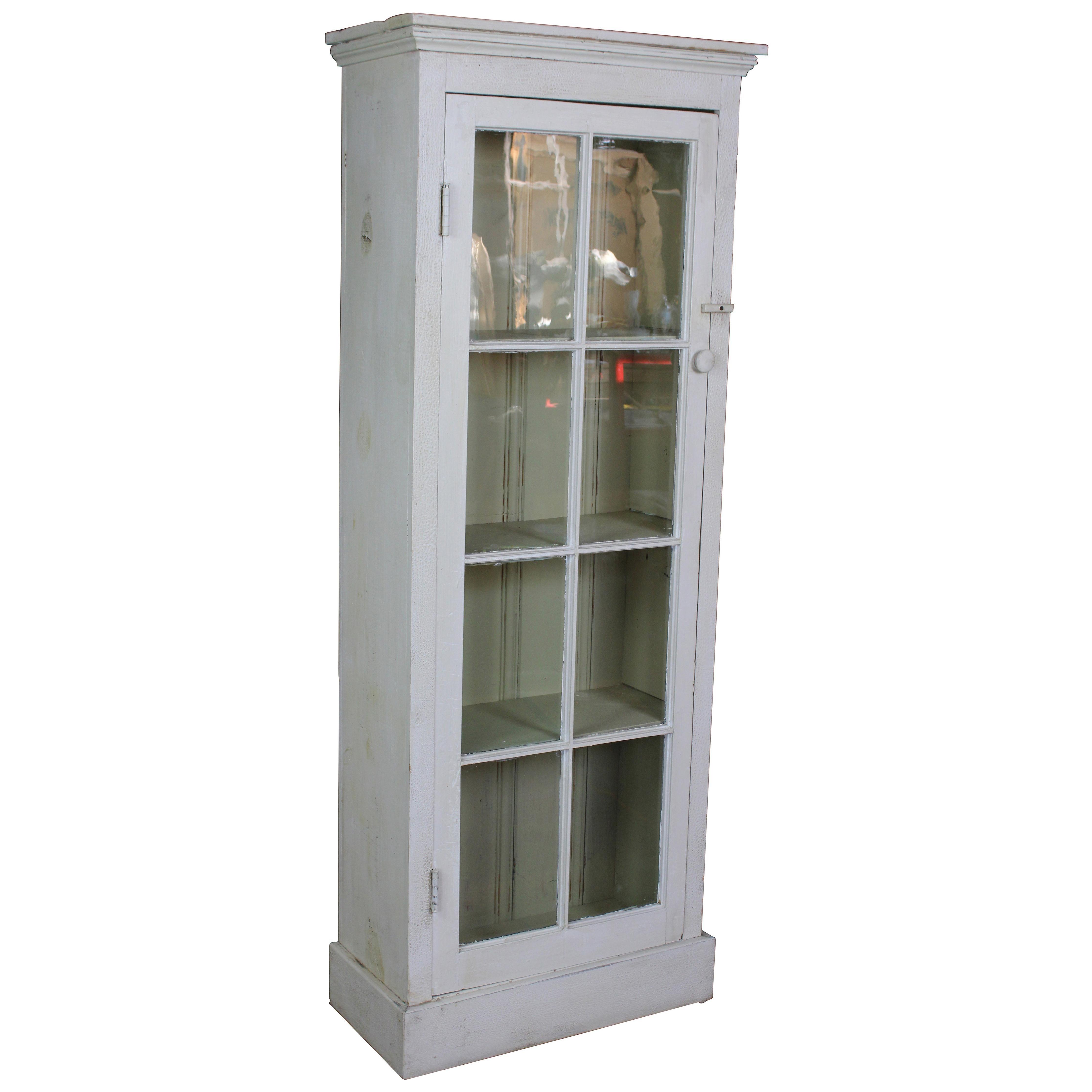 Primitive Reclaimed Pine White Painted Farmhouse Cupboard Linen Press Cabinet