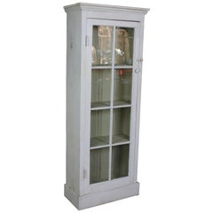 Primitive Reclaimed Pine White Painted Farmhouse Cupboard Linen Press Cabinet
