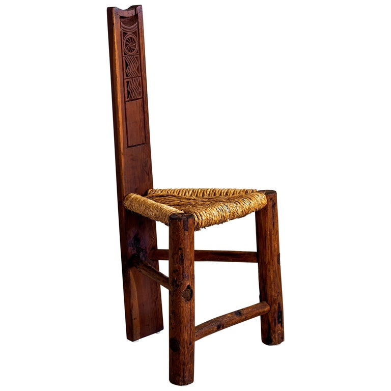 Primitive Rushed Chair For Sale