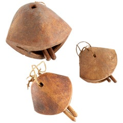 Primitive Set of Three African Teak Camel Bells