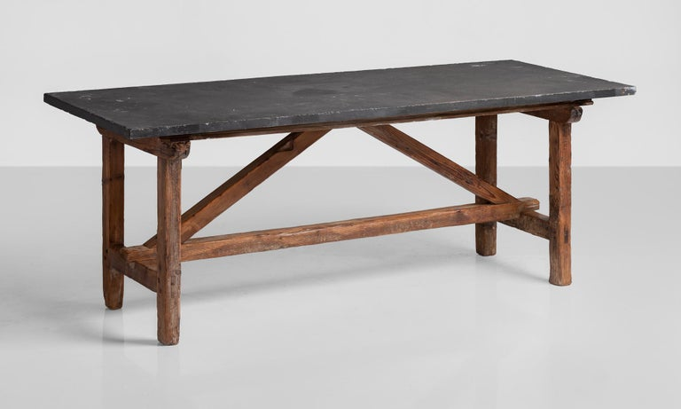 Primitive Slate Table, France, circa 1930 In Good Condition For Sale In Culver City, CA