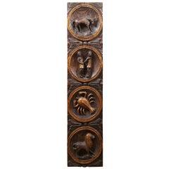 Primitive Spanish Carved Folk Art Astrology Zodiac Wall Plaque Lion Bull Lobster