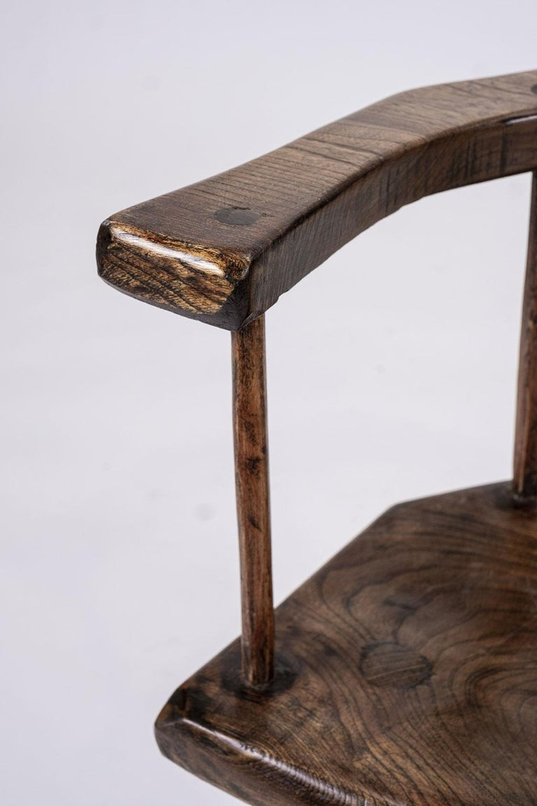 Primitive British Stick Chair Hand-Carved in Elm and Ash For Sale 6