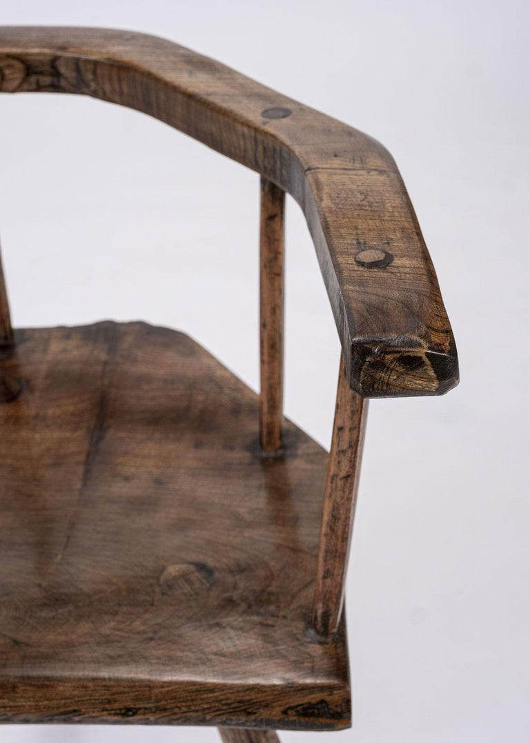 Folk Art Primitive British Stick Chair Hand-Carved in Elm and Ash For Sale