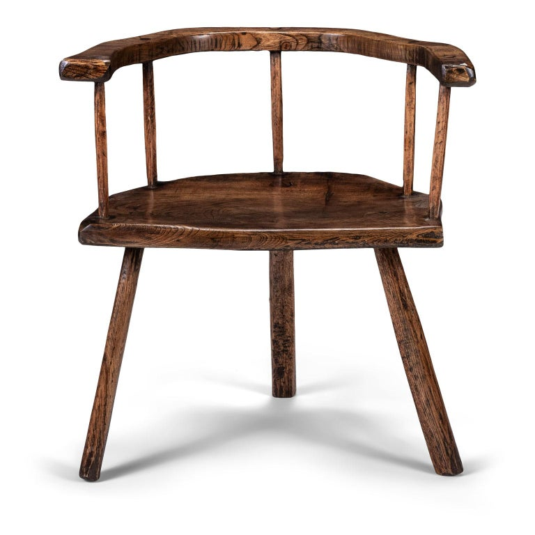 English Primitive British Stick Chair Hand-Carved in Elm and Ash For Sale
