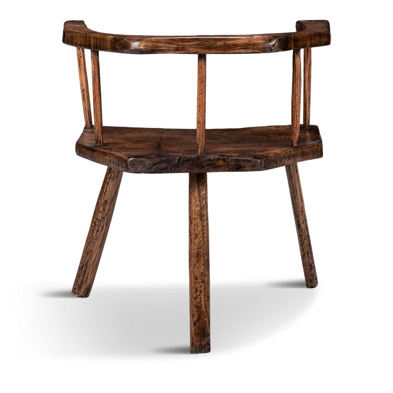 19th Century Primitive British Stick Chair Hand-Carved in Elm and Ash For Sale