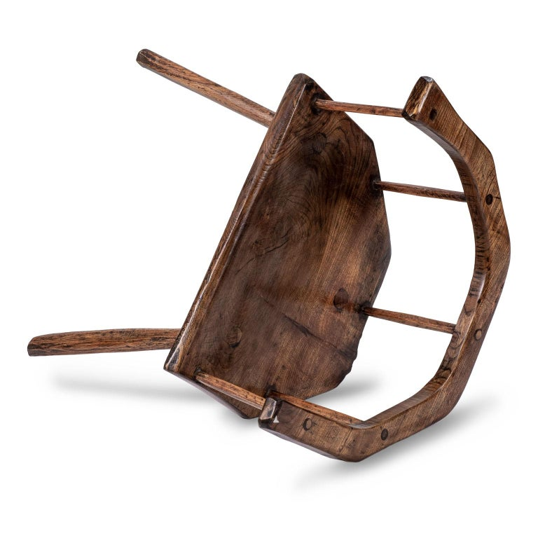 Primitive British Stick Chair Hand-Carved in Elm and Ash For Sale 1