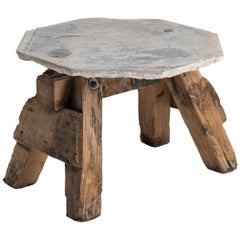 Primitive Stone and Timber Side Tables, France, circa 1950