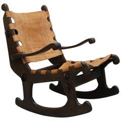 Primitive Style Leather and Wood Rocking Chair Made in Ecuador by Angel Pazmino