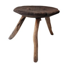 Primitive Style Mesquite Stool from Mexico