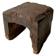 Primitive Styled Hardwood Dining Stool from Mexico, circa 1920s