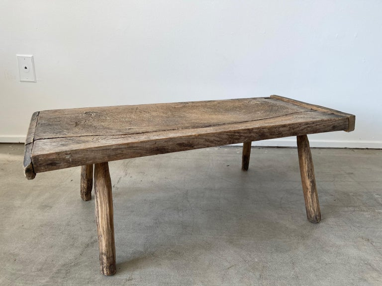 Great primitive table with wonderful character and lines.  Splayed legs with center crack - that can only come with decades of wear!