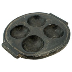 African Black Stone Palette Dish Bowl Ashtray Relief Sculpture