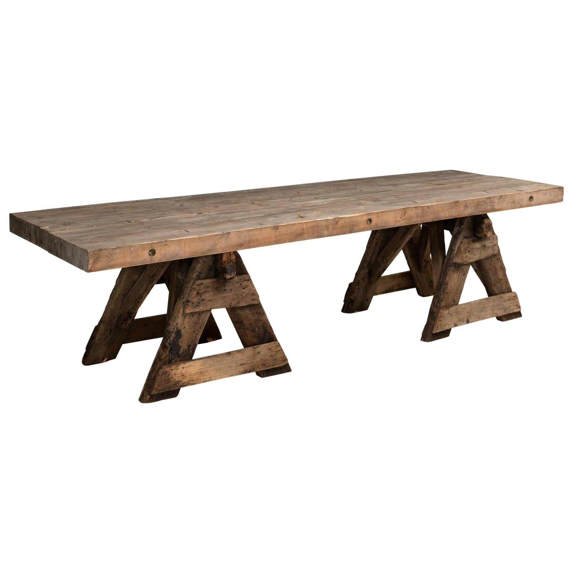 Primitive Work / Dining Trestle Table, France, circa 1930