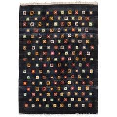 Primitive Turkish Contemporary Box Square Pattern Rug