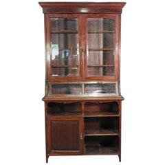 Primitive Two-Door Glass Mahogany China Cabinet Hutch Cupboard, circa 1900