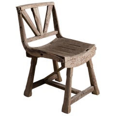 Primitive Weathered Oak Chair, England, circa 1910
