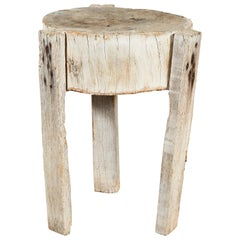 Primitive White Round Chopping Block Table