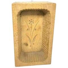 Primitive Wood Carved Flower Butter Mold Vintage, German, 1890s