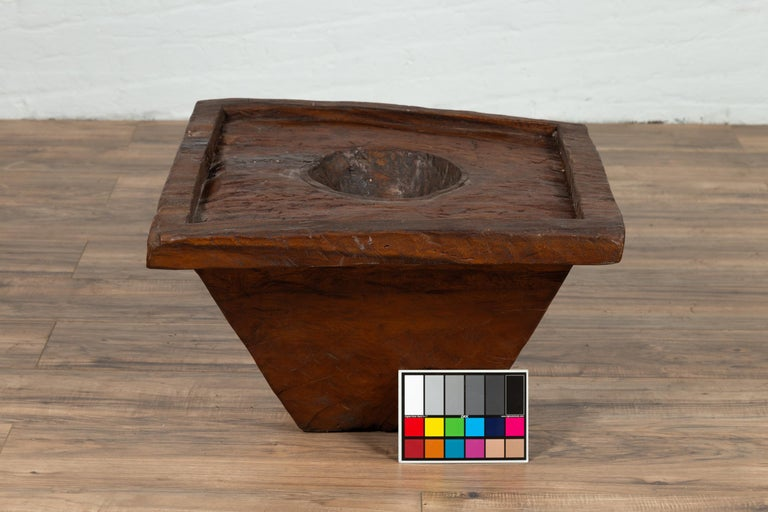 Wooden Indonesian Brown Mortar Planter from the Early 20th Century For Sale 6