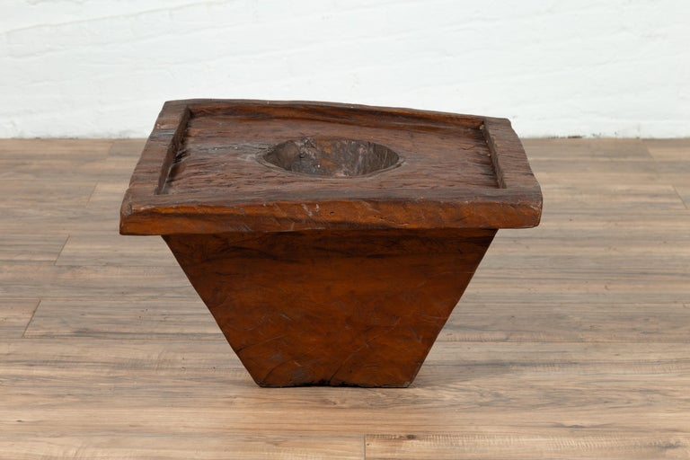 Rustic Wooden Indonesian Brown Mortar Planter from the Early 20th Century For Sale