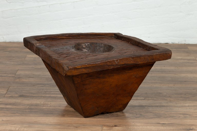 Wooden Indonesian Brown Mortar Planter from the Early 20th Century For Sale 5
