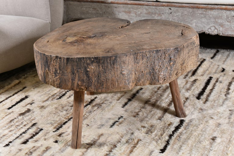 Oak side or coffee table in an organic shape. French, circa 1900.