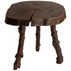 Primitive Wooden Slab Table, France, 19th Century