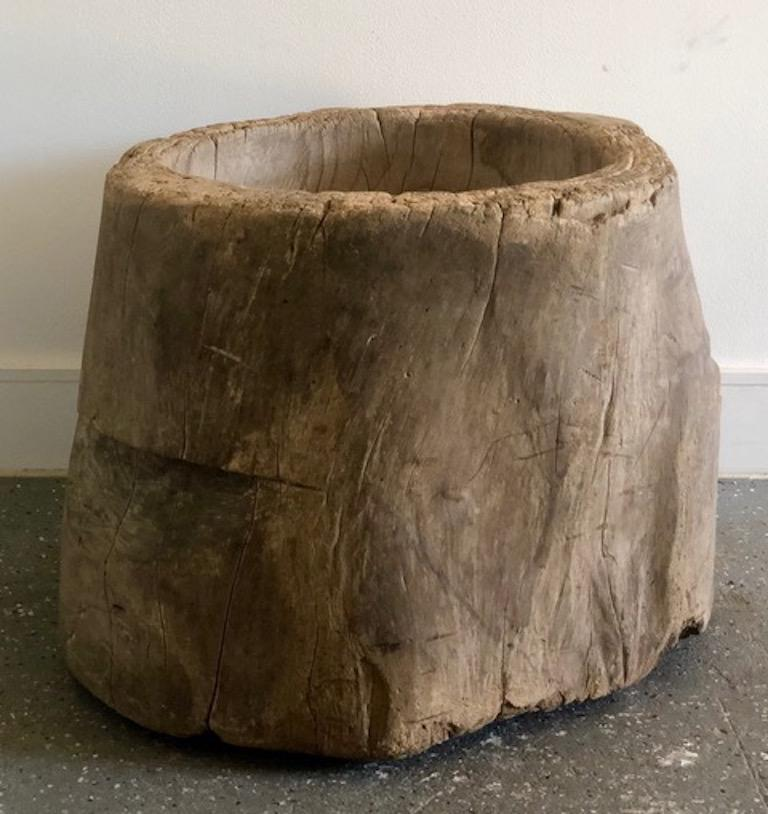 Hardwood Primitive Wooden Stump Bowl with Brown Patina For Sale