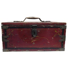 Primitive Wooden Tool Box Hand Painted