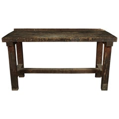 Primitive Work Console Table from France, circa 1950