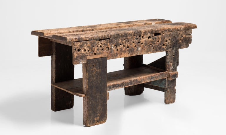 Primitive Workbench, England, 19th Century In Good Condition For Sale In Culver City, CA