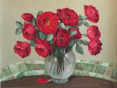 1930's French Impressionist Oil Painting - Red Flowers in a Vase