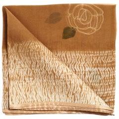 Primrose Cinnamon, Handpainted Shibori Silk Organza Square Scarf