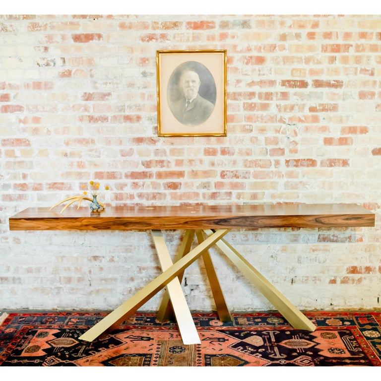 Modern Prince Console Table, Contemporary, Rosewood and Gold Leaf, by Dean and Dahl For Sale