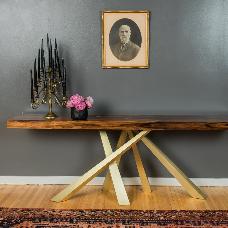 American Prince Console Table, Contemporary, Rosewood and Gold Leaf, by Dean and Dahl For Sale