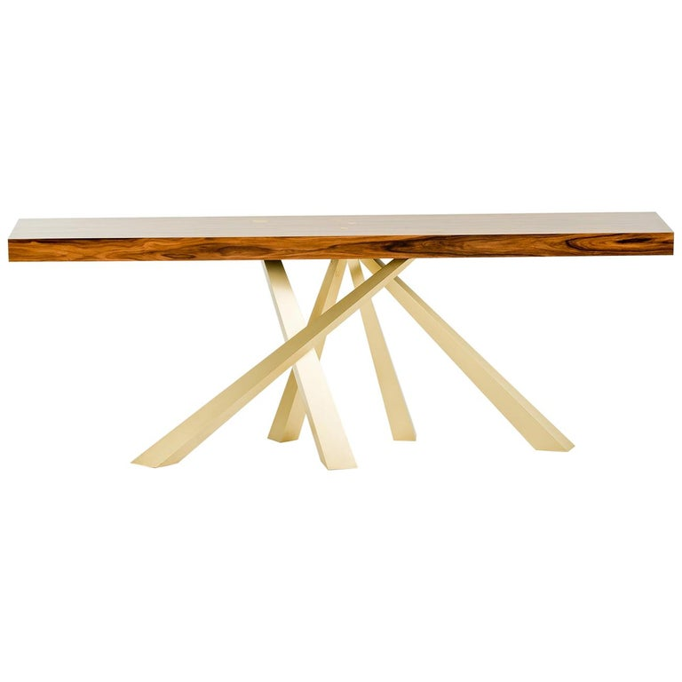 Prince Console Table, Contemporary, Rosewood and Gold Leaf, by Dean and Dahl For Sale