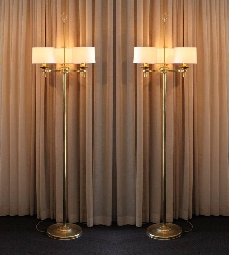 Prince de Galles, Paris, circa 1940, Art Deco floor lamps chic pair of Art Deco floor lamps from the prestigious Prince de Galles Hotel in Paris, France.  The lamps have been rewired for US electrical sockets and are fitted with new linen and