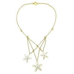 Assael Prince Dimitri Diamond Moonstone South Sea Pearl Star Pendant Necklace