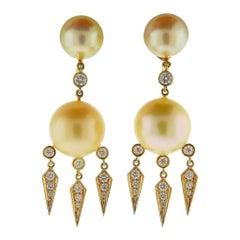 Prince Dimitri Diamond South Sea Pearl Gold Drop Earrings